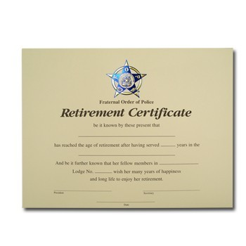 retirement certificates wording